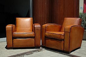 French Club Chairs Restored Martini Squareback Pair
