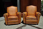 French Club Chairs Restored Classic Gendarme Pair