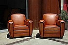French Leather Club Chairs LeMans Library Restored Pair