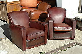 French Leather Club Chairs Sweptback Square Pair