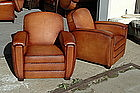 French Leather Club Chairs Longchamp Library Pair