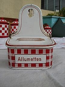 Vintage French Enamel Matchbox Red White Enamelware