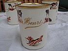 "Antique French Porcelain Child's Baby Cup ""Henri"" Mehun"