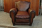 Vintage French Club Chair Classic Chocolate Moustache