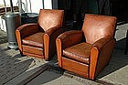 Vintage French Club Chairs Martini Square Pair