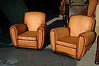 French Leather Club Chairs Streamline Library Pair