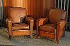 Vintage French Club Chairs Petite Parisian Caramel Pair