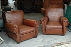 Vintage French Leather Club Chairs Monaco Library Pair