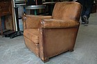Vintage French Leather Club Chair Etampes Single