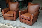 Vintage French Club Chairs Petite Grooveback Pair