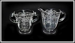 Fostoria Glass Co. Corsage Creamer and Sugar