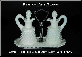 Fenton WMG Hobnail 3 pc Cruet Set With Tray