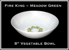 "Fire King Meadow Green 8"" Large Vegetable Bowl"