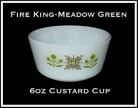 Fire King Meadow Green 6 oz Custard Cup
