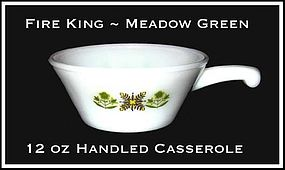 Fire King Meadow Green Handled Ramekin/Casserole