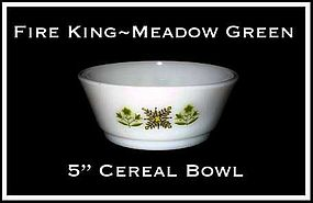 "Fire King Meadow Green 5"" Large Cereal Bowl"