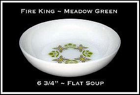 "Fire King Meadow Green 6 5/8"" Flat Soup Bowl"