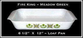 Fire King Meadow Green Lo Wide Loaf Pan