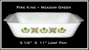 Fire King Meadow Green Tall Bread Loaf Pan