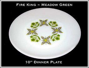 """Fire King Meadow Green 10"""" Dinner Plate"""