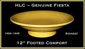 "HLC Genuine Fiesta 1930's Org Ftd 12"" Fruit Bowl~Signed"