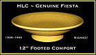 "HLC Genuine Fiesta 1930's Org Ftd 12"" Fruit Bowl~Signed"