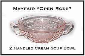 "Hocking Mayfair Pink ""Open Rose"" 5 Inch Cream Soup Bowl"
