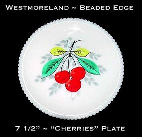 "Westmoreland Beaded Edge ""Cherries"" 7 1/2"" Plate"