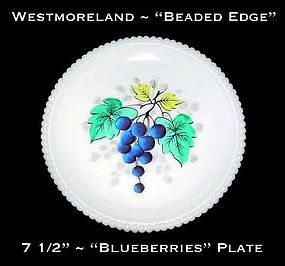 "Westmoreland Beaded Edge ""Blueberries"" 7 1/2"" Plate"