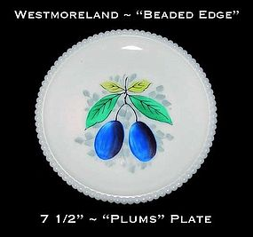 "Westmoreland Beaded Edge ""Plums"" 7 1/2"" Plate"