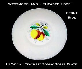 "Westmoreland Beaded Edge ""Peaches"" Zodiac 14 5/8"" Plate"