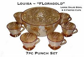 "Louisa ""Floragold"" 7pc Punch Set ~ Carnival Colored Set"