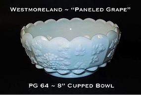 "Westmoreland ""Paneled Grape"" PG 64 Cupped Ftd 8"" Bowl"