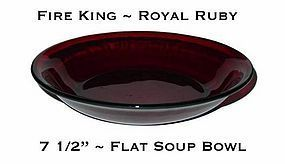 "Fire King Royal Ruby 7 5/8"" Flat Soup Bowl"