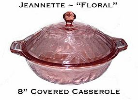 "Jeannette ""Floral"" Poinsettia 8"" Covered Casserole"