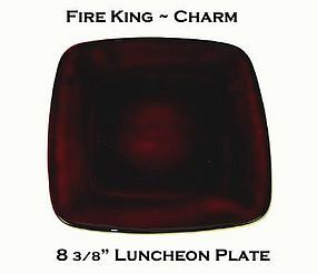 "Fire King Royal Ruby Charm 8 3/8"" Luncheon Plate"