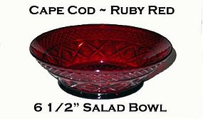 "Imperial Cape Cod Dark Ruby Red 6 1/2"" Salad Bowl"