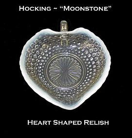 Hocking Moonstone Heart Shaped Relish Dish