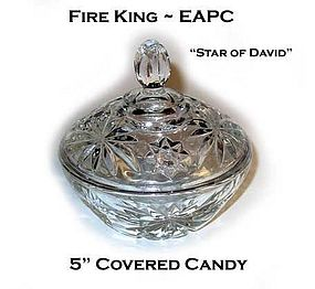"""Hocking Fire King EAPC 5"""" Covered Candy Jar"""
