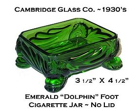 Cambridge Glass 1930's Emerald Dolphin Cigarette Jar