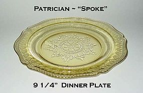 Federal Glass ~ Patrician Spoke ~ Amber Dinner Plate