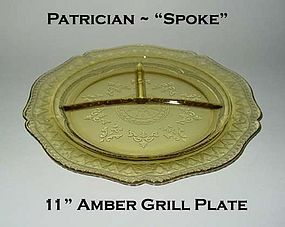 Federal Glass~Patrician Spoke~Amber Divided Grill Plate