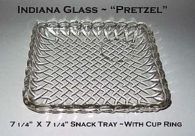 "Indiana ~ Pretzel ~ 7"" X7"" Square Snack Tray W/Cup Ring"