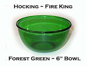 Fire King Forest Green 6 Inch Beaded Edge Bowl