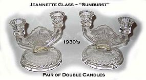 "Jeannette Glass ""Sunburst"" Pair of Double Candles"