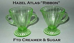 "Hazel Atlas ""Ribbon"" Green Footed Cream & Sugar"