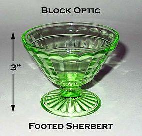 Block Optic Green Footed Cone Shaped Sherbert