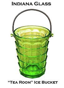 "Indiana ""Tea Room"" Green Ice Bucket With Handle"