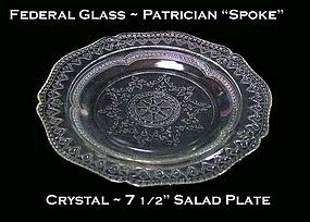 "Federal Glass Patrician ""Spoke"" Crystal Salad Plate"