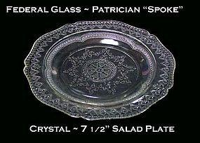 "Federal Glass Patrician ""Spoke"" Crystal Salad Plate"